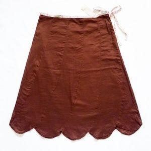 "NWT Tie Waist Scallop Hem A-Line Skirt 2 30"" x 25"""
